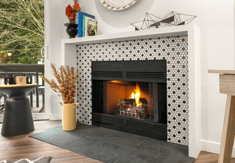 Gorgeous Tiled Fireplace